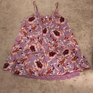 Purple floral flowy sun dress